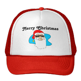 Merry Christmas Cool Santa In Sunglasses Cap