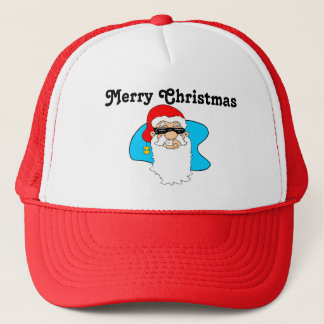 Merry Christmas Cool Santa In Sunglasses Trucker Hat
