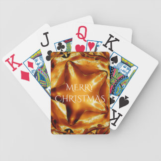Merry Christmas Copper Gold Shiny Star Bicycle Playing Cards