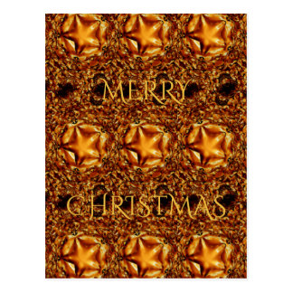 Merry Christmas Copper Gold Shiny Star Postcard