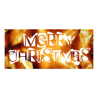 Merry Christmas Copper Gold Shiny Star Rack Card