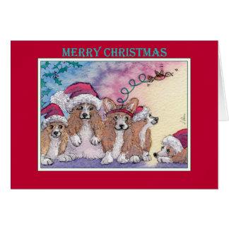 Merry Christmas, corgi dogs in Santa hats Card