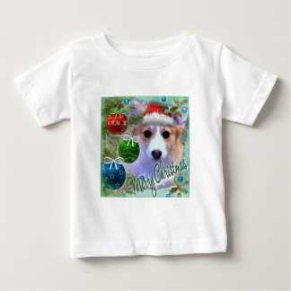 Merry Christmas Corgi Puppy Baby T-Shirt