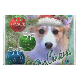 Merry Christmas Corgi Puppy Placemat