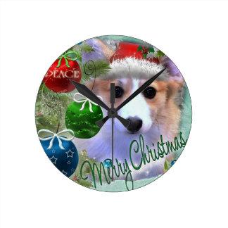 Merry Christmas Corgi Puppy Round Clock