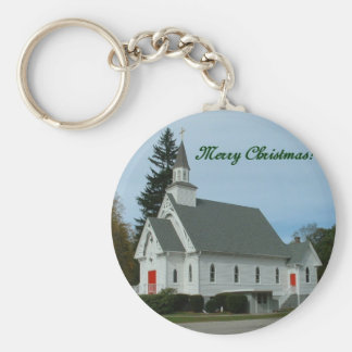 Merry Christmas!  Country Church Basic Round Button Key Ring
