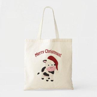 Merry Christmas Cow Tote Bag