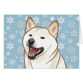 Merry Christmas Cream Shiba Inu Customisable Card