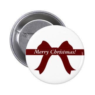 Merry Christmas - Crimson Red Bow Ribbon Pins