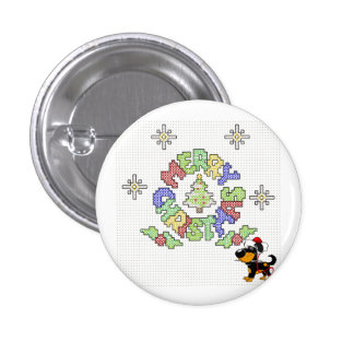 Merry Christmas Cross Stitch by Pup Button
