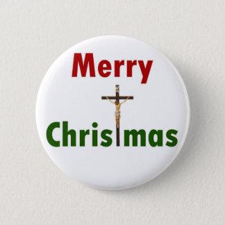 Merry Christmas Crucifix 6 Cm Round Badge