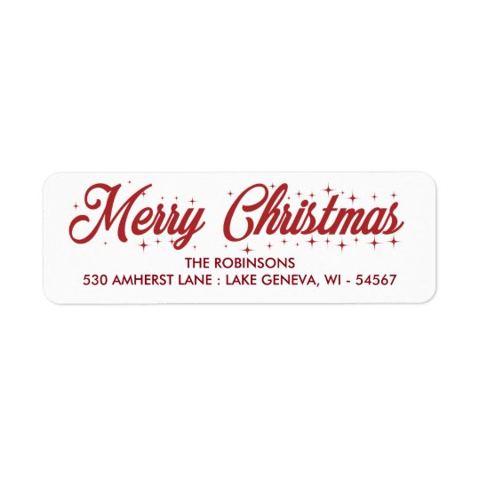 Merry Christmas Cursive Script Label Return Address Label