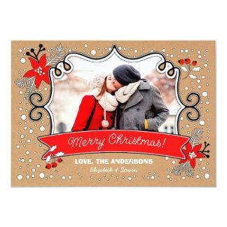 """Merry Christmas. Custom Christmas Photo Cards 5"""" X 7"""" Invitation Card"""