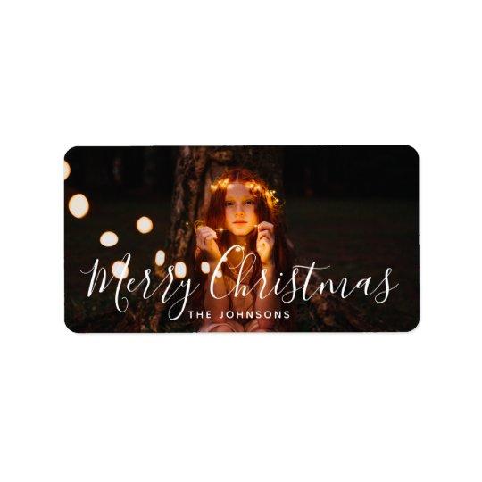 Merry Christmas Custom Greeting Holiday Photo Label