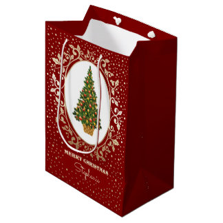 Merry Christmas. Custom Name Paper Gift Bags