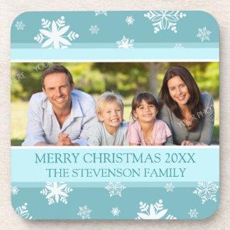 Merry Christmas Custom Photo Coaster Blue