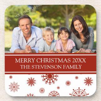 Merry Christmas Custom Photo Coaster Red