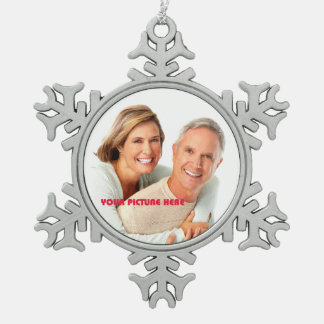 Merry Christmas. Custom Photo Snowflake Ornaments