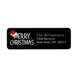 Merry Christmas Custom Santa Hat on Black Return Address Label