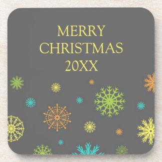 Merry Christmas Custom Year Coaster Colorful
