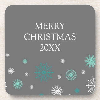 Merry Christmas Custom Year Coaster Grey Aqua