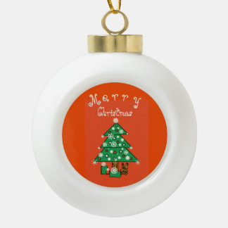 Merry Christmas Customisable Ceramic Ball Christmas Ornament