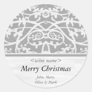 Merry Christmas Customised Wine Label Round Sticker