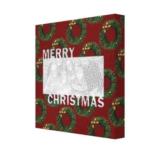 Merry Christmas Cut Out Photo Frame Wreaths Canvas Prints