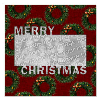 Merry Christmas Cut Out Photo Frame Wreaths Posters
