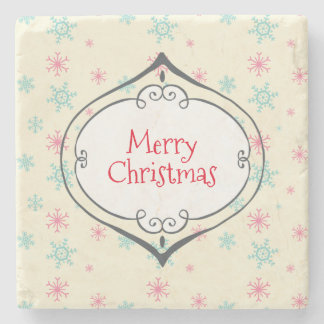 Merry Christmas Cute Bauble Pink & Blue Snowflakes Stone Beverage Coaster