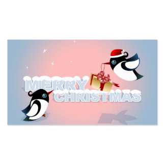 Merry Christmas - Cute Birds Christmas Gift Tag Pack Of Standard Business Cards