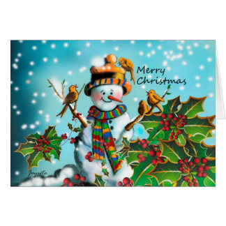 Merry Christmas ,Cute colorful Snowman Greeting Card