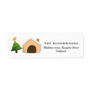 Merry Christmas Cute Cottage Christmas Tree | Star Return Address Label