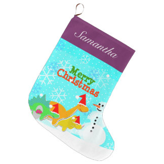 Merry Christmas Cute Dinosaurs Holiday Large Christmas Stocking