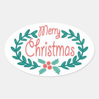 MERRY CHRISTMAS CUTE HAND-DRAWN HOLLY WREATH OVAL STICKER
