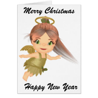 Merry christmas Cute Holly Gold Baby Angel Greeting Card