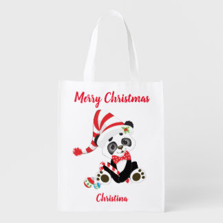 Merry Christmas Cute Panda Reusable Grocery Bag