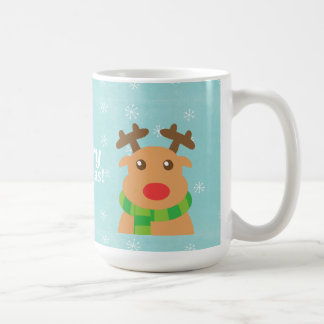 Merry Christmas - Cute Reindeer with Red Nose Coffee Mug