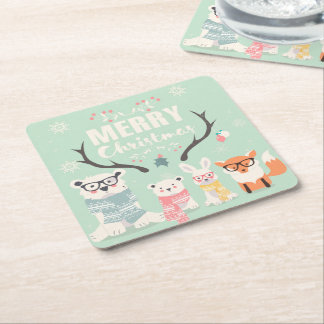 Merry Christmas Cute Rustic Forest Animals Square Paper Coaster