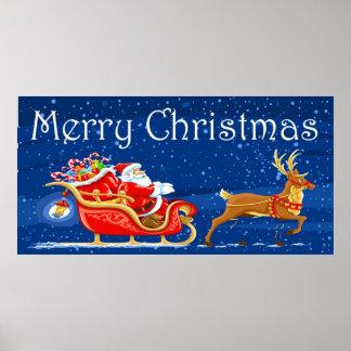 Merry Christmas Cute Santa Claus Cartoon Print