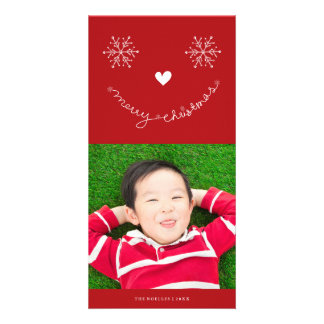 Merry Christmas Cute Smiley Holiday Photo Card