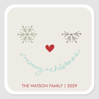 Merry Christmas Cute Smiley Wink Holiday Sticker