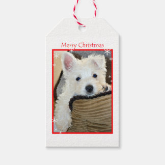 Merry Christmas- Cute Westie Puppy Gift Tags