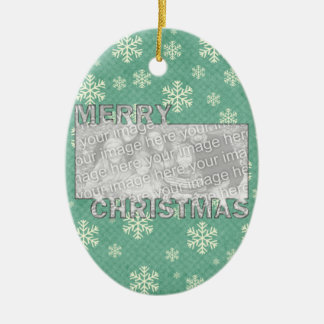 Merry Christmas CutOut Photo Frame Mint Snowflakes Ceramic Ornament
