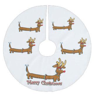 Merry Christmas Dachshund Brushed Polyester Tree Skirt