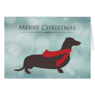 Merry Christmas, Dachshund in Red Scarf, Bokeh Greeting Card
