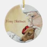 Merry Christmas Dachshund & Santa Art Ornament