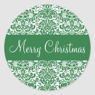 Merry Christmas Damask Envelope Sticker Seal