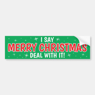 Merry Christmas Deal With It! Bumper Sticker