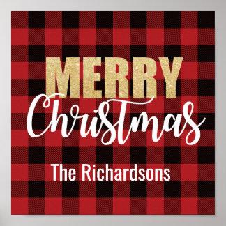 Merry Christmas Decoration on Plaid